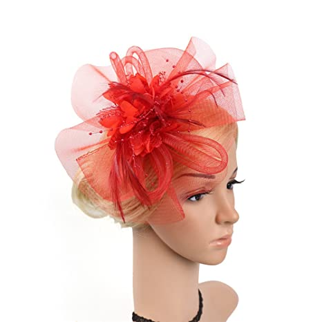 Sunbobo Donna Elegante Fascinator Cappello da Sposa Piuma Hairband Headwear  Fiore Accessori per Capelli Cocktail Royal 94463826503d