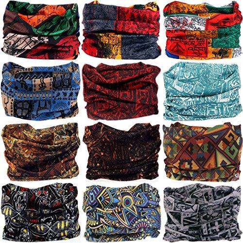 VANCROWN Headwear Head Wrap Sport Headband Sweatband 220 Patterns Magic Scarf 12PCS & 6PCS 12 in 1 (12PCS.Totems ()