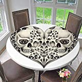 Mikihome Round Premium Table Cloth The Dead Decor Twin Half Fire Design in Hearts Festive Spanish Image Print Perfect for Indoor, Outdoor 63''-67'' Round (Elastic Edge)