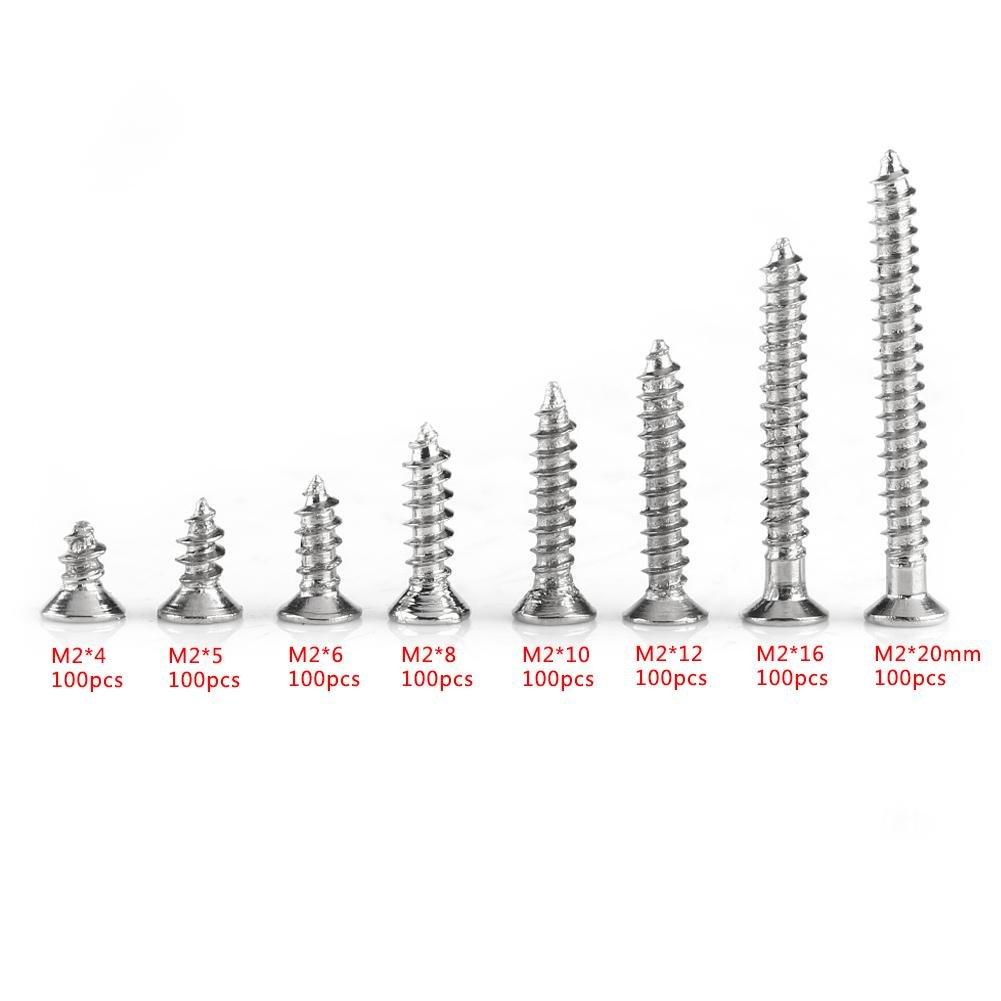 les R/éparations et les Inventions etc les Meubles Existe huit Longueurs Communes de 4 mm /à 20 mm pour le Bois 800pcs M2 Vis /à T/ête Plate