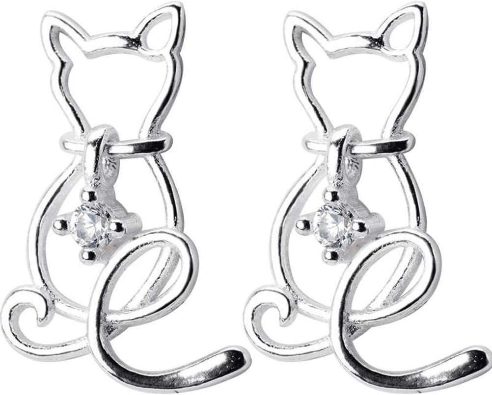WOZUIMEI S925 Pendientes de Plata Corea de la Mujer Pequeños Pendientes de Diamantes Frescos Lindo Gato Gatito Joyería de Oreja Animalun par, Plata 925