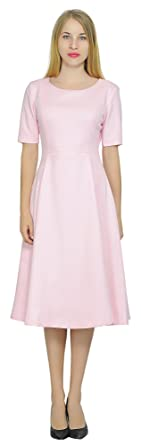 be603ab80832 Marycrafts Womens Modest Fit Flared Work Office Lined Midi Dress 0 Pink