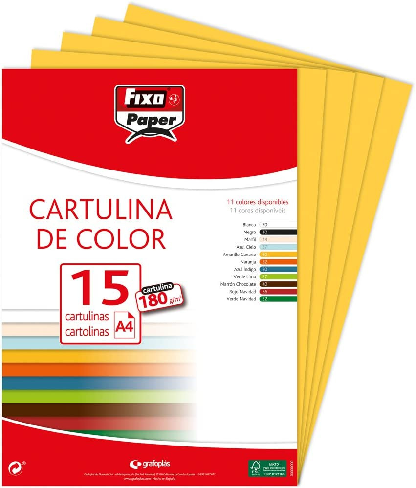 Fixo Paper 11110660 - Pack de 15 cartulinas amarillas, A4, 180g/m²: Amazon.es: Oficina y papelería