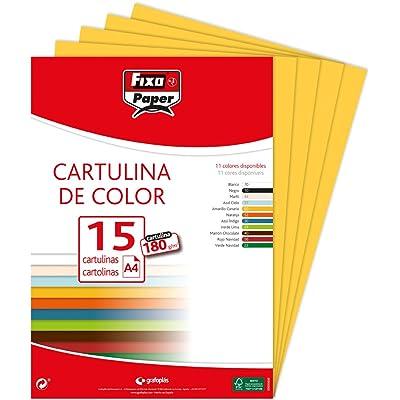 Fixo Paper 11110660 - Pack de 15 cartulinas amarillas, A4, 180g/m²