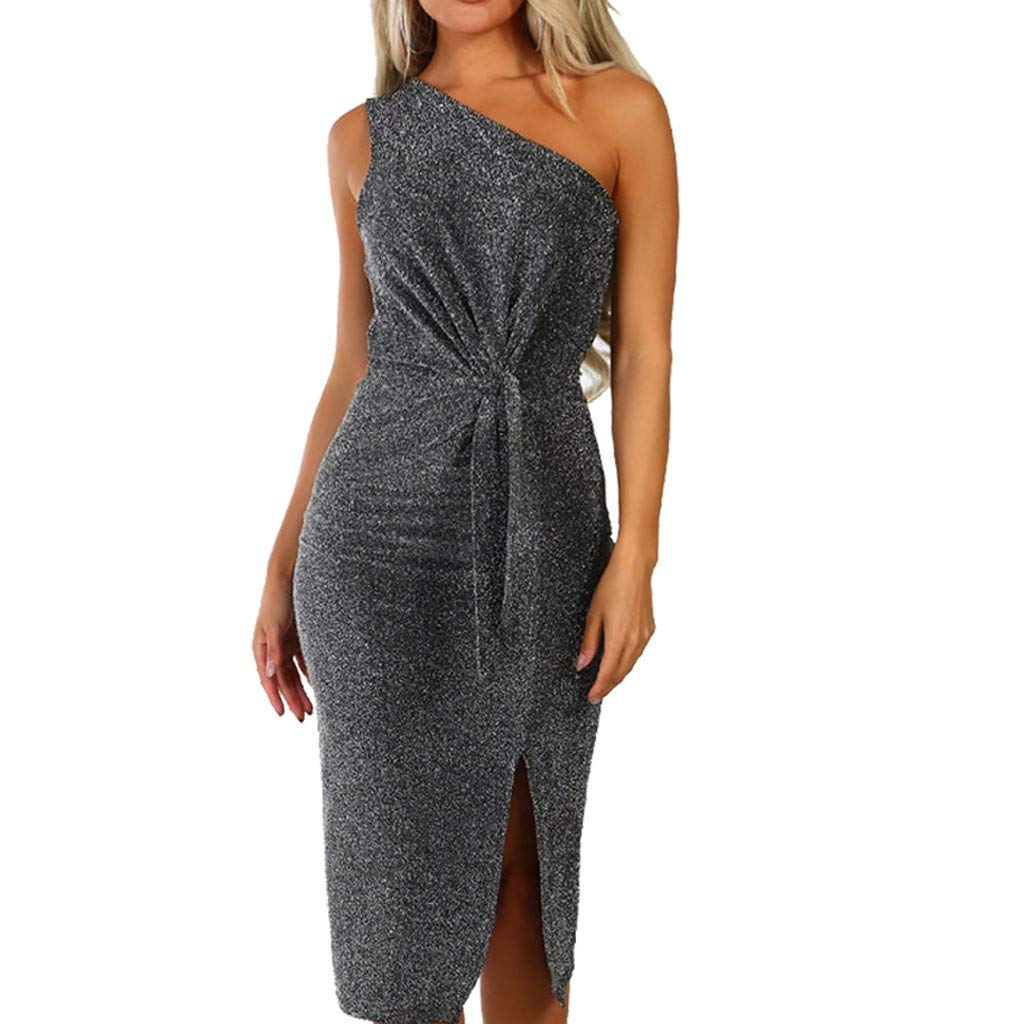 Womens Party Dress Sexy Sparkly Glitter Long Sleeve One Off Shoulder Ruched Sheath Irregular Midi Dress(Gray,S)