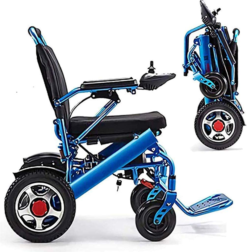 GBX@I Silla de ruedas eléctrica ligera y plegable con reposapiés, scooter de luz portátil, inteligente y seguro, fácil de conducir, amortiguación automática para silla de ruedas Com