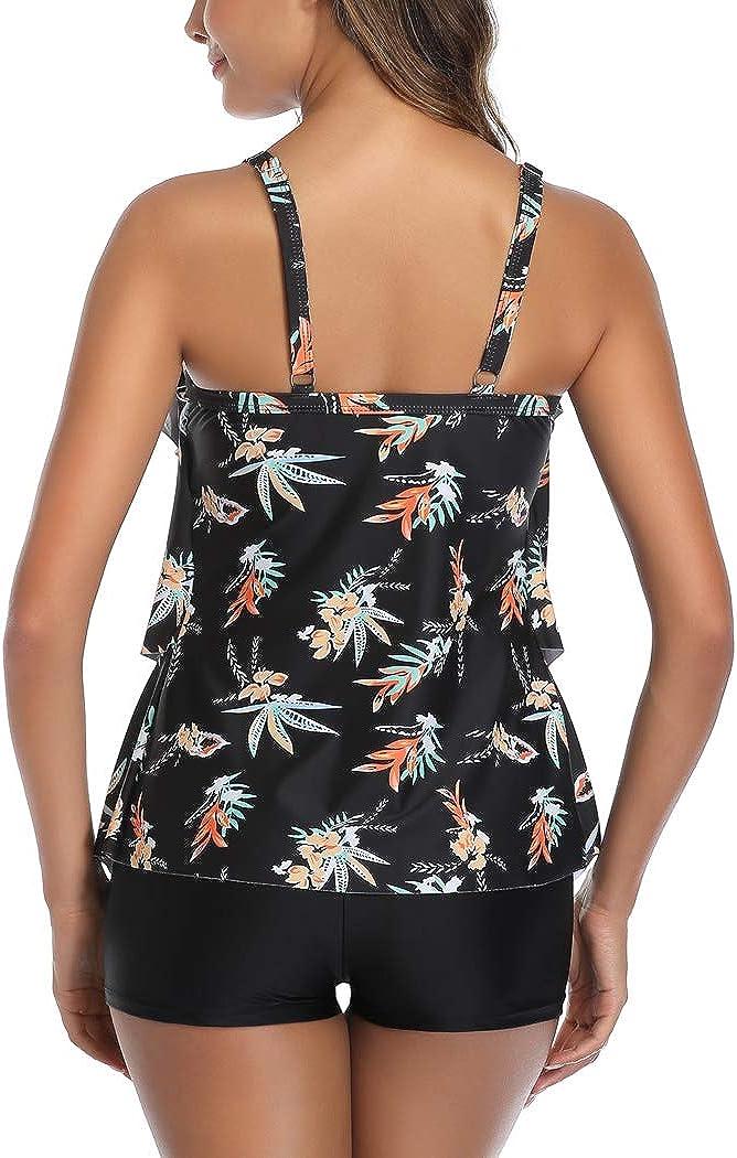 Aidotop Women 2 Piece Flounce Printed Top with Boyshorts Tankini Bathing Suits