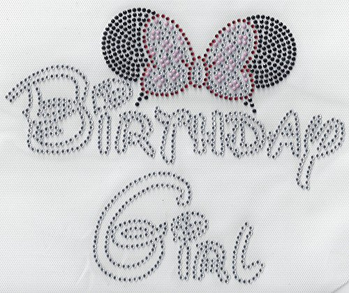 Birthday Rhinestone Iron On Heat Press Crystal Motif 1st Birthday Party Girl t-Shirt Birthday Minnie Mouse Disney Theame