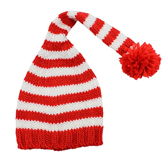 48bf6b0f2a0ee Amazon.com  juDanzy red   White Stripe Christmas elf hat for Babies ...