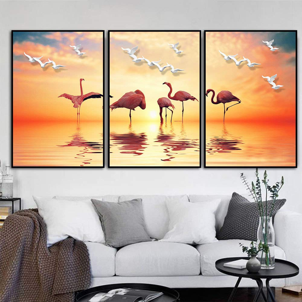 47.3 X 23.6inch DG.Cheng 3 pcs Contemporary Wall Art Flamingo Oil Painting Printed on Canvas Romantic Picture Framed Artwork Prints for Walls Decor