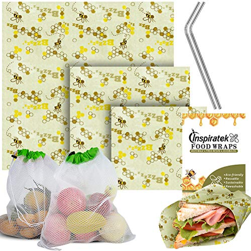 Reusable Beeswax Food Wrap (Assorted 3 Pack) + Bonus Stainless Steel Straws & Produce Storage Bags | Bees Wax Wrappers Perfect for Sandwich | Organic Bee Paper | Cloth Cling - Wrap Straw