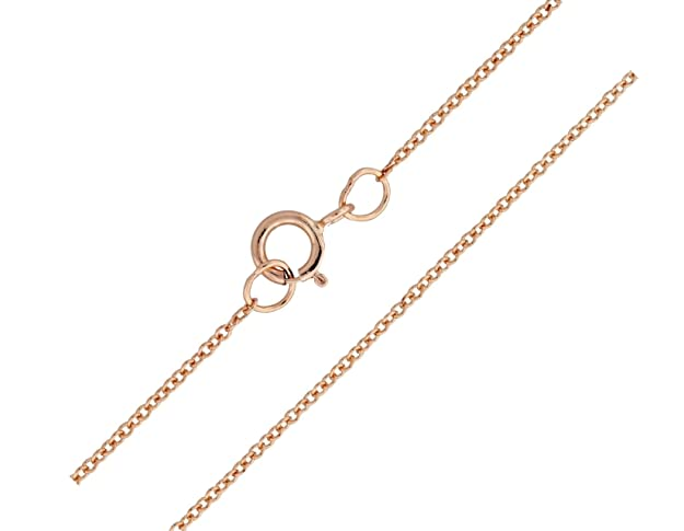 Kezef Rose Gold Plated Sterling Silver Italian 1.3mm Cable Chain Necklace with Spring Ring Closure wmV9UyG