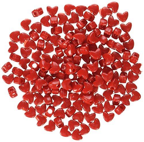 Darice 0726-01B Pony Heart Shape Bead, 10 x 9mm, 1100 Piece, Opaque Red