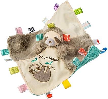 Sloth Taggie Animal Blanket Personalized Security Blanket Baby Blankie