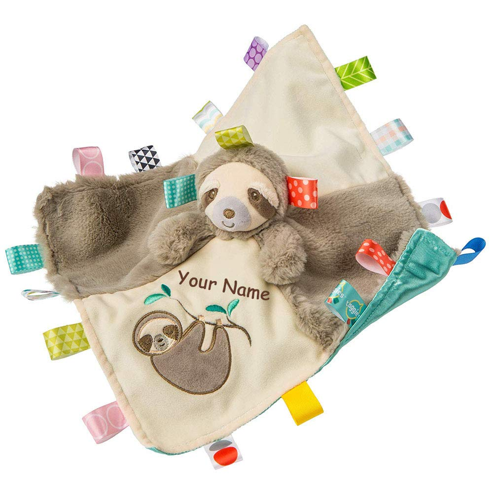 Personalized Taggies Molasses Sloth Character Sensory Blanket Snuggle Blanky - 13 Inches by Taggies