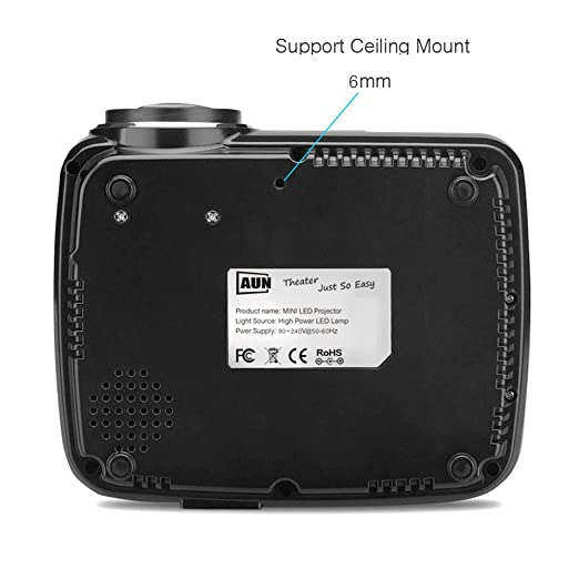 AUN Android Proyector con WiFi Bluetooth LED Proyector Para cine en casa Miracast Airplay EZCast Portable Multimedia 1200 Lúmenes Película Videojuegos Apoyo ...