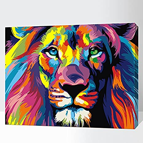 iFymei Paint by Number Kits Paintworks Acrylic DIY Oil Painting for Kids  and Adults Beginner Animals Canvas(Color Lion)