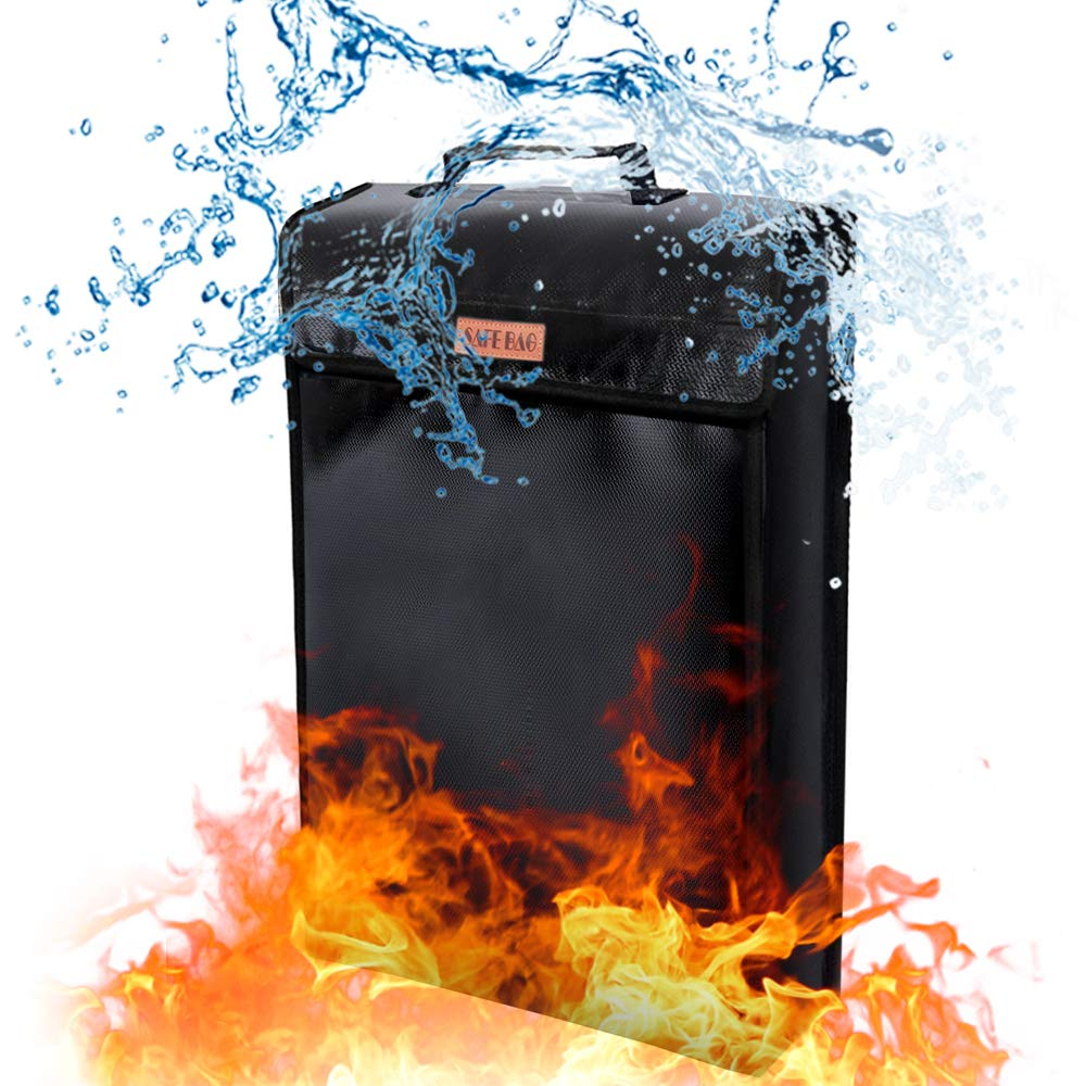 Fireproof Document Bag, JOZZ Waterproof Bag Safe Storage Bag Fire Resistant Envelope Pouch for Money and Valuables