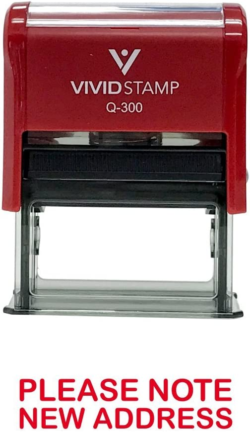 Please Note New Address Self Inking Rubber Stamp (Red Ink) - Large