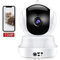 QZT Cámara IP HD, Cámara de Vigilancia WiFi Interior, Casa Seguridad Camara con Visión Nocturna, Detección Movimiento, Email Alarma, Inalámbrico Video Camera para Mascota Oficina Bebé Tienda (720P)