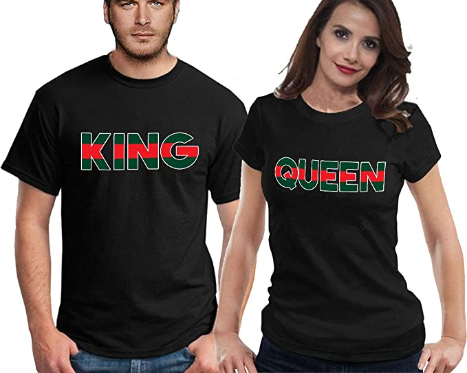 a0265ddb609 CRAZYDAISYWORLD King Queen t-shirts GREEN RED Line FASHION Style for couple