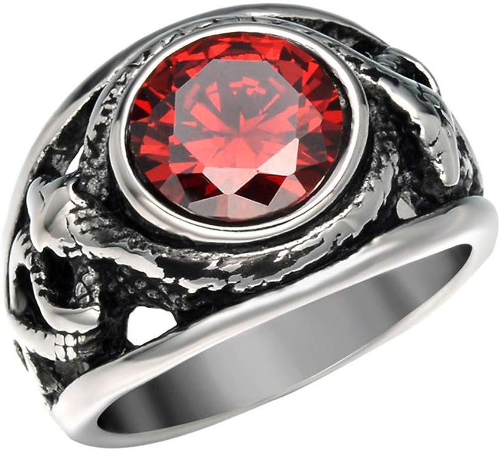 PAMTIER Men's Stainless Steel Vintage Inlaid Red/Black Gemstone Gothic Biker Snake Ring