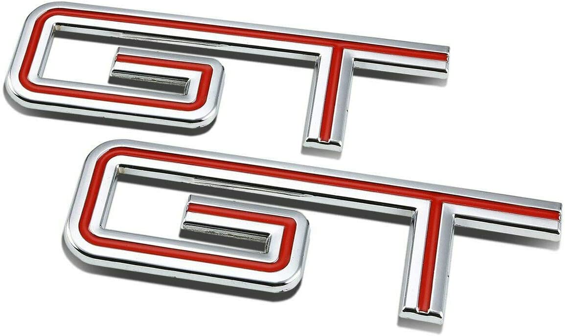 Red Pair Set GT 3D Fender Trunk Lid Emblem Badge Nameplate Sticker Replacement For 2005-2010 Mustang