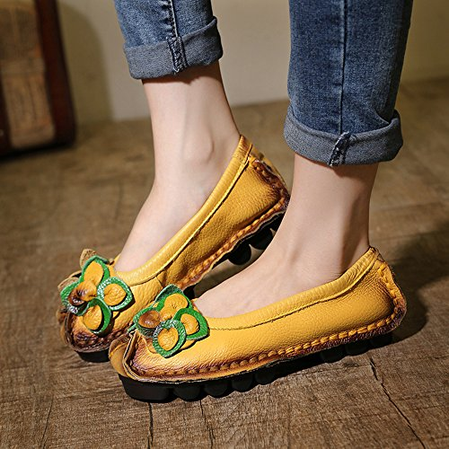 SUNROLAN Womens Handwork Multi-style Leather Fall New Flat Flower Pattern Slip-on Loafer Shoes Style1-yellow hbm1E