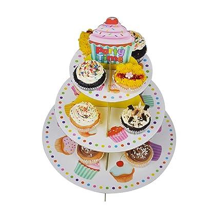 Ez Life 3 Tier Diy Cupcake Stand Disposable Cupcake Tower Party Supplies Mix Color Multicolor