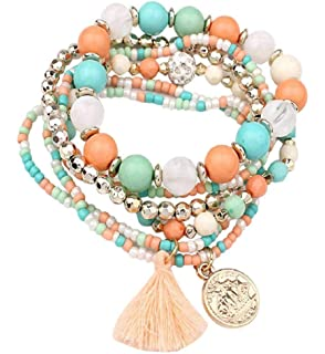 e21ab11b501d5 Clearance Sale!💗DEESEE(TM)💗Women Multilayer Beads Bangle Tassels  Bracelets (