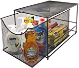 Sorbus Cabinet Organizer Drawer with Cover-Mesh Storage Organizer w/Pull Out Drawers-Stackable, Ideal for Countertop, Cabinet, Pantry, Under The Sink, Desktop and More (Silver Bottom Drawer)