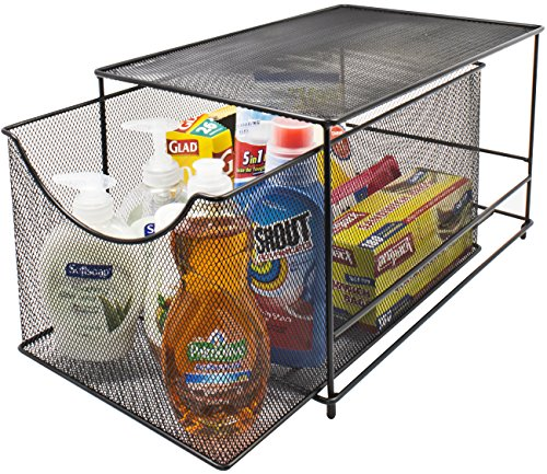 Sorbus Cabinet Organizer Drawers- Mesh Storage Organizer with Pull Out Drawers-Ideal for Countertop, Cabinet, Pantry, Under the Sink, Desktop and More (Black Bottom Drawer)
