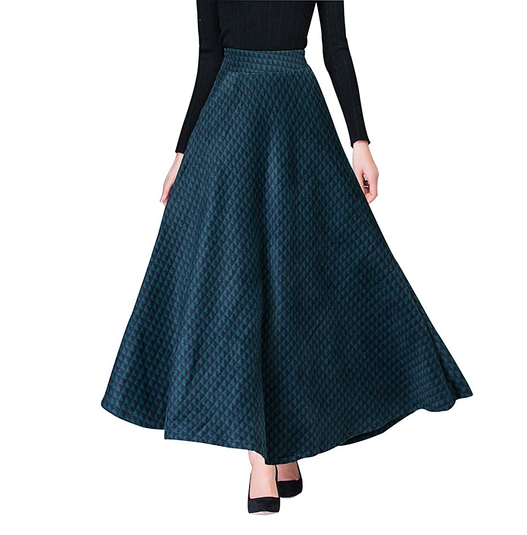 41711dcd44b459 Damen Vintage Houndstooth Wollrock hohe Taille Langen röcke Warm Wolle  Retro Elegant Winterrock Herbst Elastische Taille