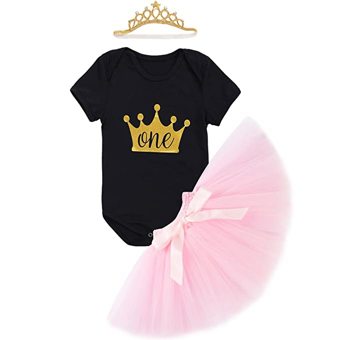 2c168174629b IBTOM CASTLE Baby Girls Newborn It's My 1st Birthday Cake Smash Shinny  Printed Tutu Skirt+