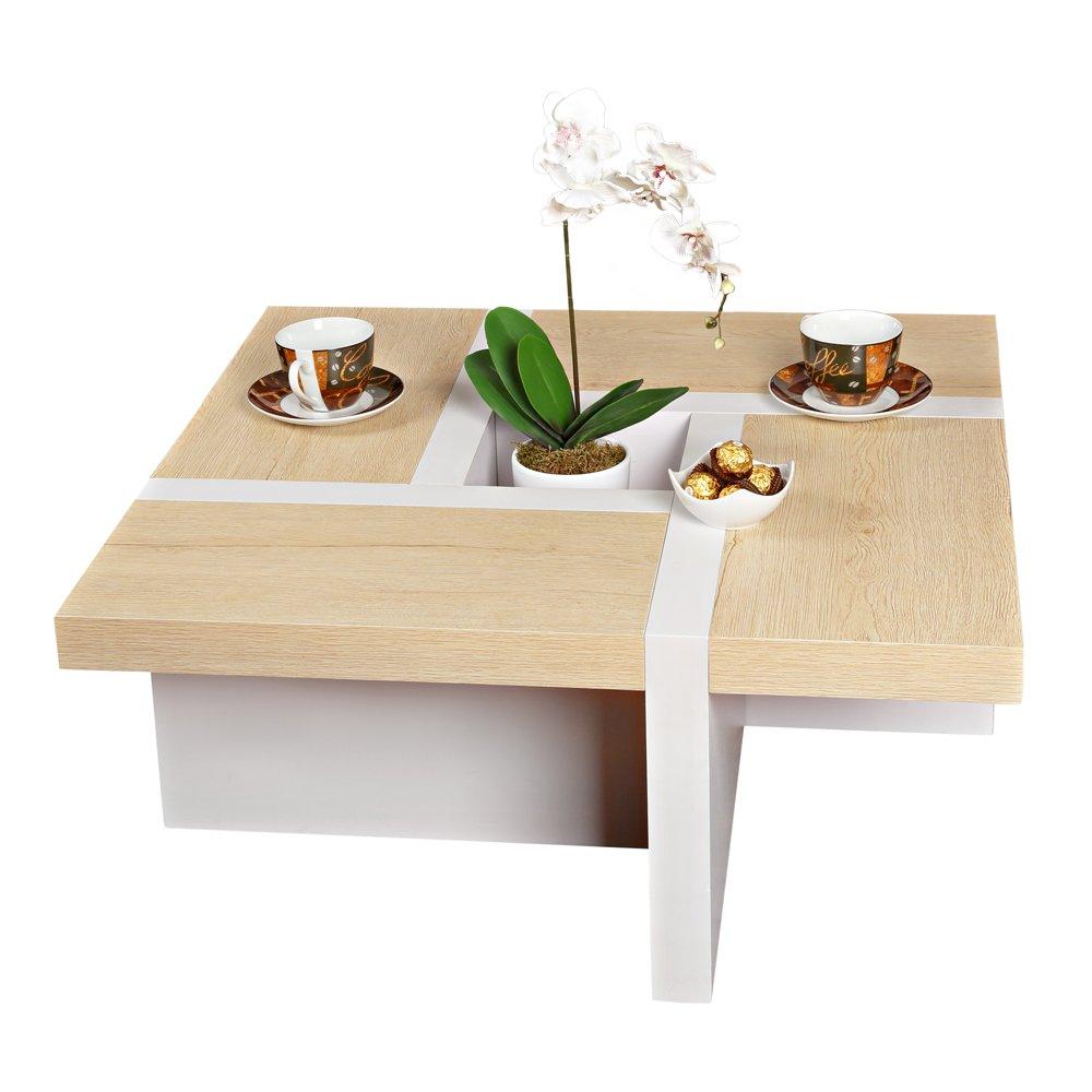 Melko Couchtisch Wohnzimmertisch braun weiß, 80x80x35 cm, Beistelltisch Designertisch Holz