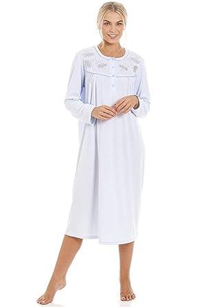 À Chemise Femme Nuit Classique Bleu De Longues Manches dCWBQerxo