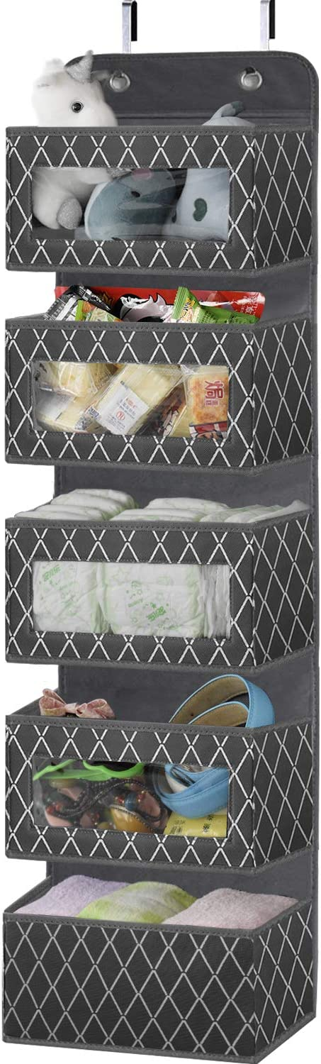 Over the Door Hanging Organizer with 5 Large Pockets,Foldable Wall Mount Fabric Storage with Clear Window and 2 Metal Hooks for Pantry,Closet,Kitchen,Nursery,Bathroom,Dorm-49.6x12.2x5 inches(Grey)