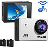 WIMIUS Q1 4K Action Camera Wifi Ultra HD 16MP Waterproof Sports Camera 2.0'' 170° Wide Angle Include Waterproof Case,2pcs Batteries and Full Accessories Kits (Silver)