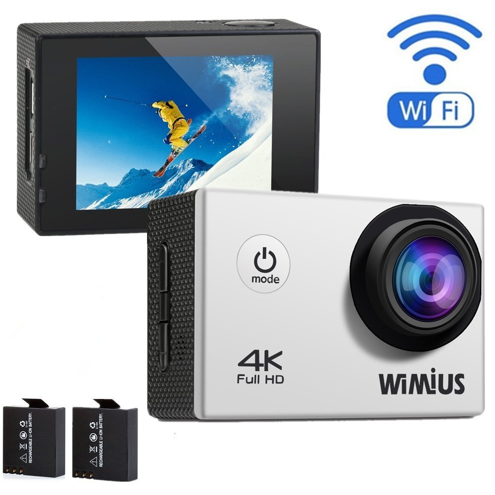 WiMiUS Q1 4K Wifi 131ft Waterproof Dash Sports Camera With 16 MP,170° Wide Angle, 2.0'' LCD Screen+20 All In One Kit Set ,SD Card Exclude(Sliver)