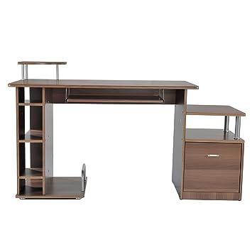 Homcom Bureau Pour Ordinateur Table Meuble Pc Informatique