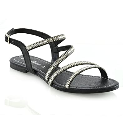 e08b04260dfc Womens Strappy Flat Sandals Ladies T-Bar Embellished Diamante Sparkly Shoes  Size Black