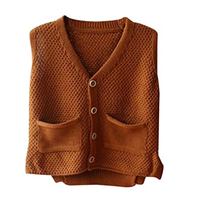 8c1a2615d Unisex Baby Boys Girls Cute Knit Sweater Vest Kids V Neck Cardigan  Waistcoat Jacket with Pockets