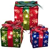 Prextex Set of 3 Christmas Lighted Red Green and Blue Gift Boxes Small Medium and Large Present Boxes Best Christmas Yard/Home Décor