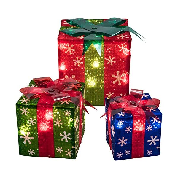 prextex set of 3 christmas lighted red green and blue gift boxes