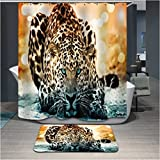 Home Fashion leopard Shower curtains, size Width X Height / 72 x 80 inches / W * H 180 by 200 cm, polyerster, Eco-Friendly, best and suitable for gift