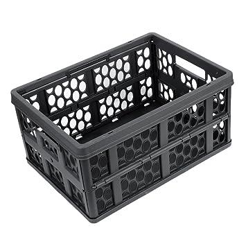 Negro plástico sostenedor de la fruta vegetal caja de almacenaje plegable para el coche: Amazon.es: Coche y moto