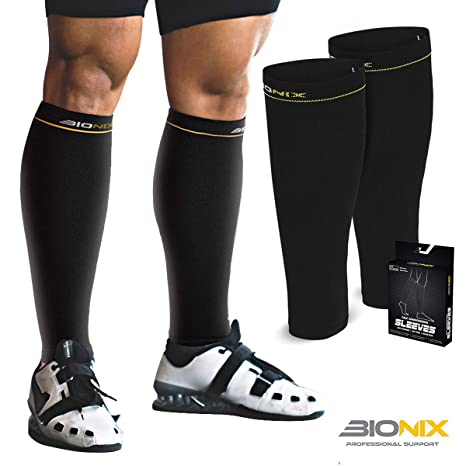 34ae5c76129807 Bionix Calf Compression Sleeves Support For Men and Women | Help Shin  Splints, Blood Circulation & Leg Cramp Pain Relief | Enhance Performance &  Recovery ...