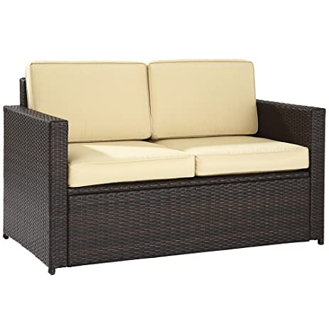 Crosley Furniture Palm Harbor Outdoor Wicker Loveseat With Cushions   Brown