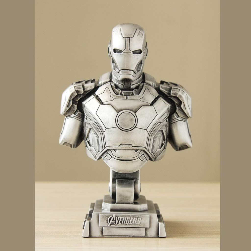 Silver Hyzb Iron Man Statue Model Decoration Festival Birthday Gift Toy Collector(23cm) (color   Silver)