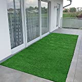 Ottomanson Evergreen Collection Indoor/Outdoor Green Artificial Grass Turf Solid Design Runner Rug 2'7